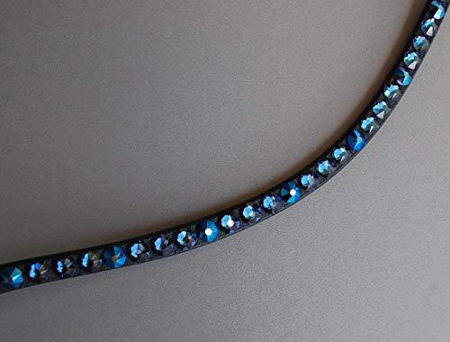 GlücksHucke Pferde Stirnband/Stirnriemen 'Deep Blue Sea' mit Strass in Dunkelblau & Metallic Blau, geschwungen, schmal (WB, Leder Dunkelbraun)