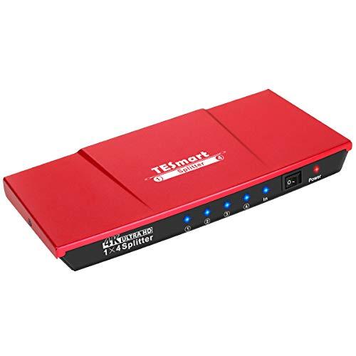 TESmart HDMI Splitter 1×4 4K@30Hz HDMI Verteiler 1 In 4 Out unterstützt HDR 3D HDCP 1.4 für HDTV/PC/STB/DVD Player/TV Box/PS3/4/Xbox/Switch/Roku/Chromecast/Fire Stick-KorallenrotProduktname