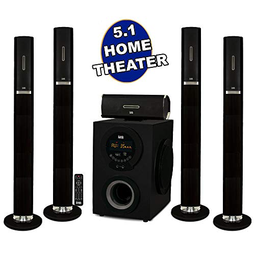 Acoustic Audio AAT3002 Tower 5.1 Home Theater Bluetooth Speaker System with 8' Powered Subwoofer