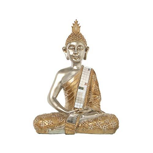 DRW Boeddha figuur met tuniek van hars in zilver en goud 29 x 17 x 39 cm