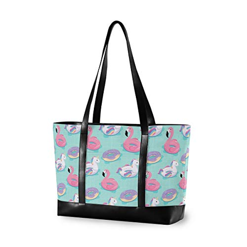 Summer Flamingo Rettungsring Canvas Laptop Tragetasche für Frauen, multifunktionale Arbeit Reisen Shopping Duffel Trage Schultertasche Handtasche kompatibel für Arbeit, Schule, Einkaufen, Reisen, Yoga