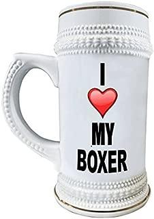 I Love My Boxer 22 oz. Ceramic Beer Stain Mug Glasses with Decorative Gold Trim