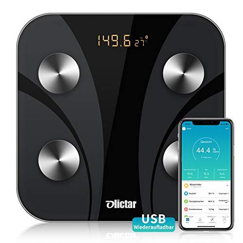 Olictar Körperfettwaage - Bluetooth Digitale Personenwaage - Personenwaage Körperanalyse, USB Digitale Waage -Körperanalysewaagen