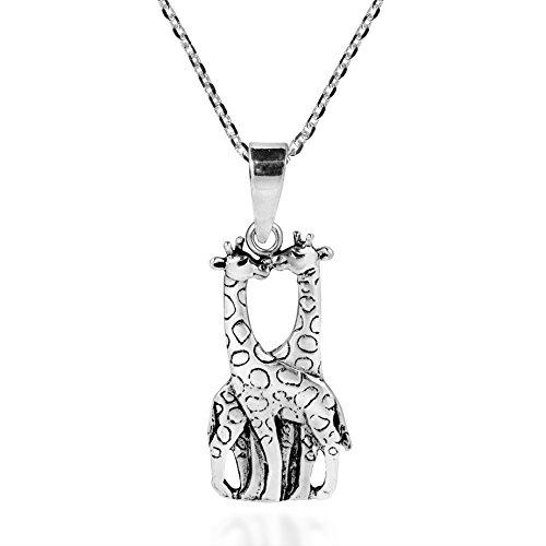 Giraffe Couple in Love .925 Sterling Silver Pendant Neckl