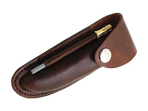 Lederetui für Laguiole Messer und Kellnermesser - Wetzstahl - Druckknopfverschluss - eingeschnittene Gürtelschlaufe