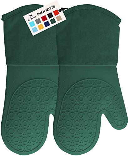 HOMWE Professional Silicone Oven Mitt, Oven Mitts with Quilted Liner, Heat Resistant Pot Holders, Flexible Oven Gloves, Green, 1 Pair, 13.7 Inch