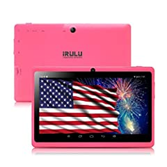 【Mini Tablet High Performance】: 7 inch 5-point capacitive multi-touch TFT LCD display, up to 1.3GHZ Quad core processor, 1GB RAM and 8GB internal Storage, iRULU 7 inch tablet brings you fluid user experience and smooth multi-tasking. Don't need to wo...