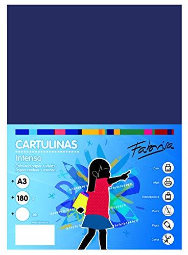 Pack 50 Cartulinas Color Azul Oscuro Tamaño A3 180g