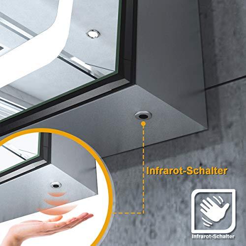 Elegant LED Spiegelschrank mit Steckdose Infrarot Sensorschalter Hochglanz Badezimmerspiegel - Badschrank mit Beleuchtung Spiegelschrank 2