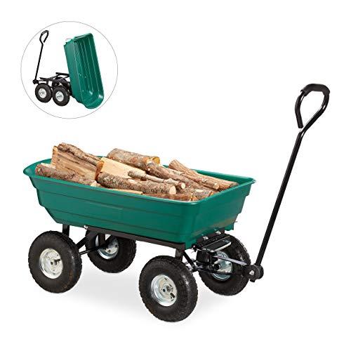 Relaxdays kiepwagen, tuinwagen met kiepfunctie, voor outdoor transport, stuuras, tot 200 kg, luchtbanden 3,50-4 inch, groen