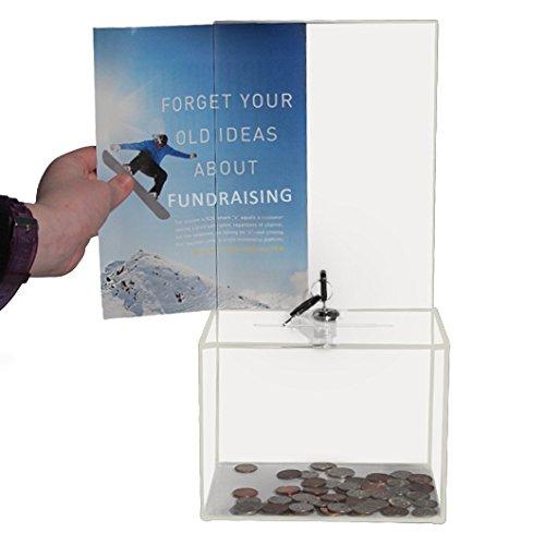 Mittelgroße Acryl-Spendenbox – Wahlurne – Ticketbox – Stimmenbox – Vorschlagsbox – Kommentarbox – Verriegelung mit 2 Schlüsseln – große Anzeigefläche