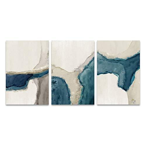 LingYuKeJi Imprime Blue River para sala de estar, arte de pared, cuadro abstracto, decoración del hogar, 50 x 70 cm, 3 unidades, sin marco