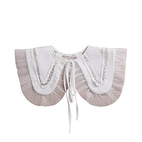 XHBL Cuello de Encaje Cuello Falso para Mujer Camisa Cuello Falso Color Blanco Collares Desmontables Ropa de Mujer Accesorios (Color : White)