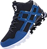 Joomra Mens Ankle Shoes for Walking Basketball Street Size 8 Antislip Wrestling Comfort Mid High Top Young Man Gym Sport Footwear Designer Fashion Sneakers Blue 42