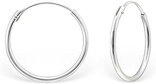 """BORDE cuadrado de plata esterlina 925 pendientes de aro redondo diámetro 25mm 1/"""""""