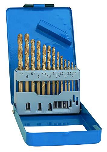 S&R Metallbohrer Set 1,5-6,5 mm 13 Stk, 135°, DIN 338, geschliffen, HSS-G TITANIUM, Spiralbohrer in Profi-Qualität