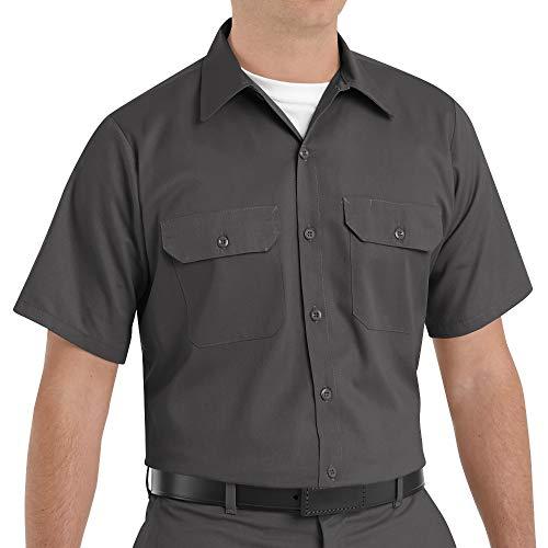 Red Kap Men's Short Sleeve Utility Uniform Shirt Charcoal Large - 2 Pack