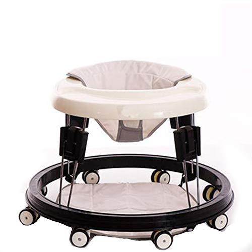 GPAN Trotteur Bébé,Pliable et réglable en Hauteur,Conception Ronde avec 8 Roues universelles,pour Enfant de 6 à 18 Mois,White