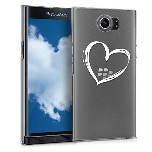 kwmobile Hülle kompatibel mit BlackBerry Priv - Handyhülle - Handy Hülle Herz Brush Weiß Transparent