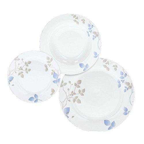 Tognana OM071185488 Olimpia Ella - Vajilla de Porcelana (18 Piezas), Color Blanco, Azul y Beige