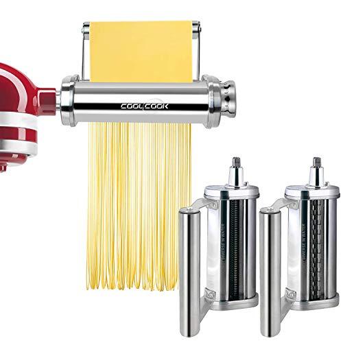 Juego de accesorios para máquina de pasta KitchenAid con rodillo único, rodillo de hoja de pasta, cortador de espaguetis, cortador de fettuccine, acero inoxidable