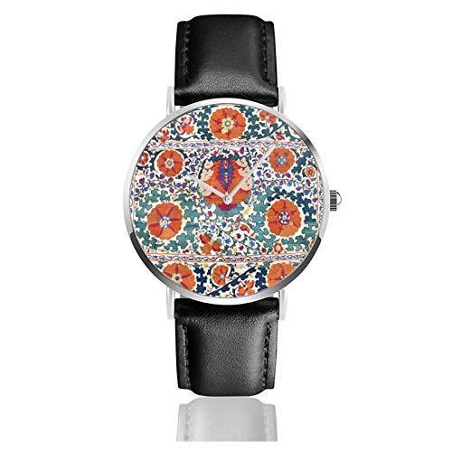 Shakhrisyabz Suzani Uzbekistán Antigua Alfombra Reloj de Cuarzo Movimiento Impermeable Correa de...