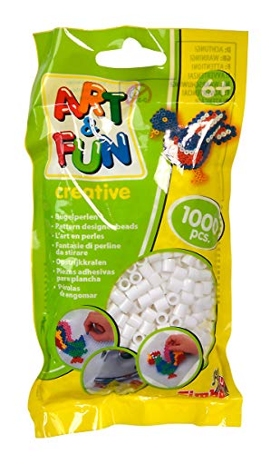 Simba 106374415 Art and Fun - 1.000 perline da stirare in sacchetto, colore: Bianco