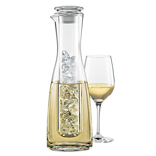 Wine Enthusiast 2-Piece Lead-Free Blown Crystal Glass Wine Chilling Carafe