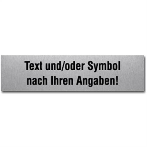 Informatiebord met gewenste tekst en/of -symbool, roestvrij staal, zelfklevend, 4x16cm
