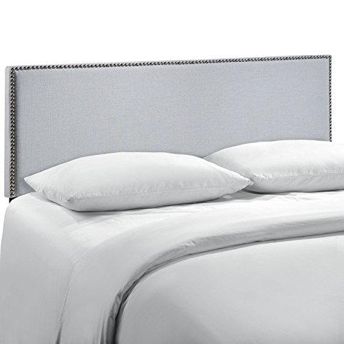 Modway Region Linen Fabric Upholstered Queen Headboard in Gray with Nailhead Trim
