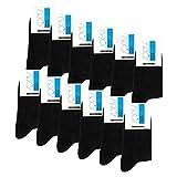 Falechay Calcetines Ejecutivos Hombres Mujer Negros 12 Pares Transpirables Algodón 43-46
