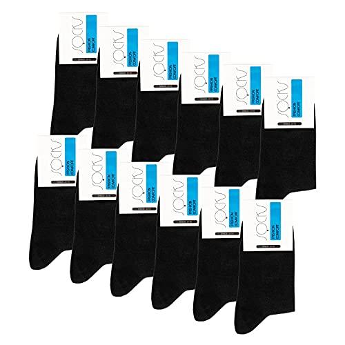 Falechay Business Socken Damen Herren 12 Paar ohne drückende Naht extra breiter Schaft , 35-38, 12 X Schwarz