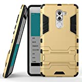 COOVY® Cover für Huawei Honor 6X / Mate 9 lite / GR5 2017 Bumper Case, Doppelschicht aus Plastik + TPU-Silikon, extra stark, Anti-Shock, Standfunktion | Farbe Gold
