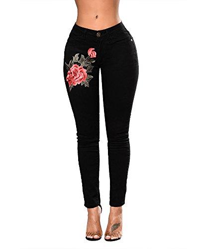 Anyu Mujer Pantalones Vaquero Skinny Push Up Pantalones Elástico Jeans Bordados Vaqueros