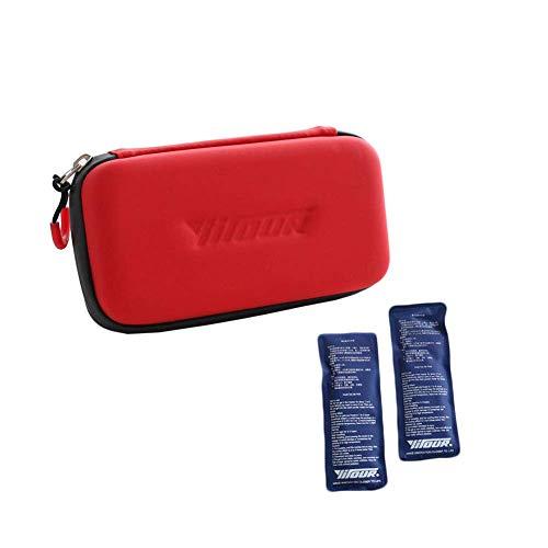 Value Sky Diabetiker Tasche Insulin Kühltasche für Diabetes Spritzen, Insulininjektion und Medikamente Thermotasche mit 2 Kühlakkus Medizinische Kühltasche, 19 cm * 10 cm * 4.5 cm, VYDSB80083 (Rot)