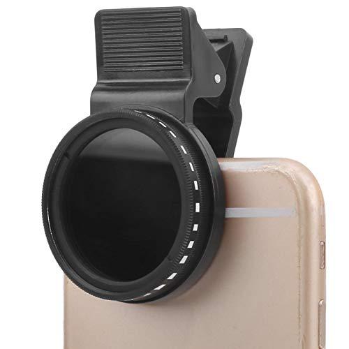 Filtro de lente ND de 37 mm para teléfono, kit de filtro de lente de cámara de teléfono móvil ND2-400 con clip, filtro de densidad neutra ajustable, con clip de lente, para la mayoría de los teléfonos