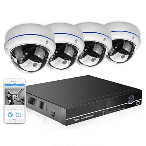 Cámara 8CH 4MP PoE NVR CCTV Sistema DE Seguridad 4 UNIDS 4MP 2MP Audio Registro IP Cámara IP Vandal-Prueba IR P2P Kit de videovigilancia Audio Vigilancia (Build-in HDD : 1T, Color : 2MP Kit)