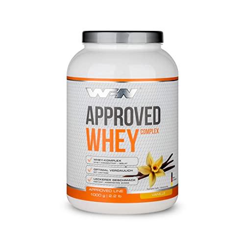 WFN Approved Whey - Vanille - 1 kg Dose - Eiweißpulver mit Laktase - Sehr gut lösliches Molkenprotein - 33 Portionen - Made in Germany