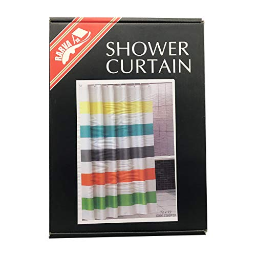 Rarva Washable Waterproof Polyester(Best Hotel Quality Eco Friendly) Liner Set for Bathroom Fabric Shower Curtain with Hooks - 72 x 72 inches,Multi Stripe Geometric
