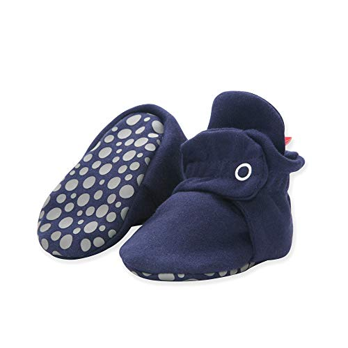 Zutano Organic Cotton Baby Booties with Gripper Soles, Soft Sole Stay-On Baby Shoes, True Navy, 12M