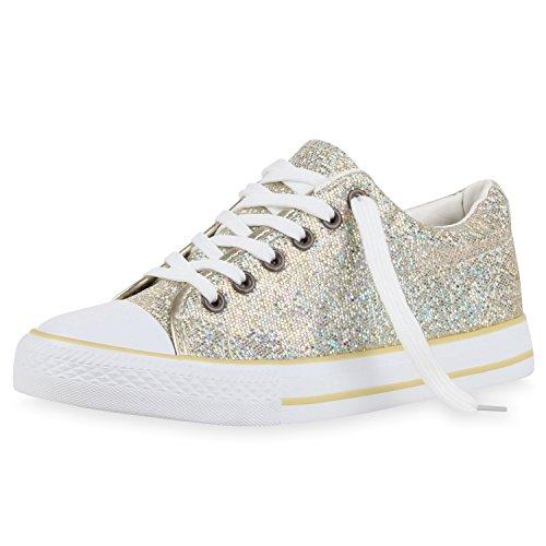 SCARPE VITA Glitzer Damen Sneakers Low Metallic Flats Turnschuhe Schnürer 160455 Gold Metallic 37