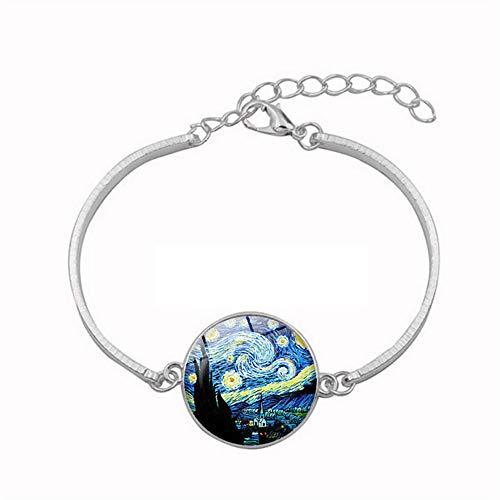 NACOLA Verstellbares Armband für Damen mit wunderschönem Van Gogh-Muster, Scheibe, Manschetten-Armband, Armreif