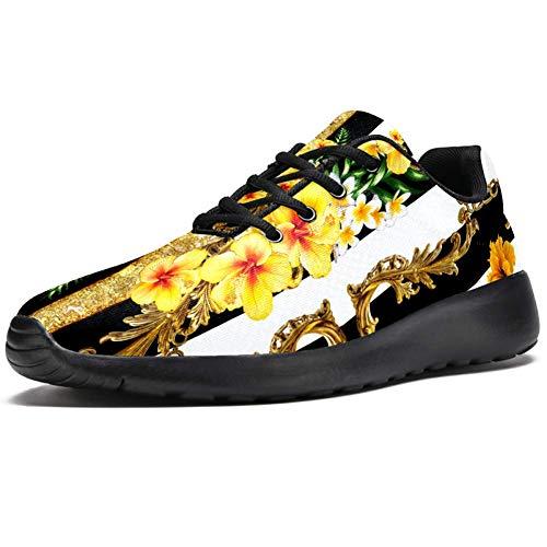 imobaby Sport-Laufschuhe für Damen, tropische Blumen, mit goldener Kette auf schwarz-weißem Streifen, modische Sneaker, Netzstoff, atmungsaktiv, Mehrfarbig - mehrfarbig - Größe: 37 EU