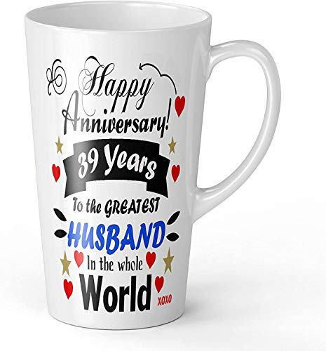 BeeTheOnly 17oz Happy Anniversary 39 Years to The Greatest Husband in The World Novedad Gift Latte Taza