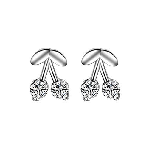 Eudola - Pendientes de doble flor, elegantes, chapados en plata, 1 par
