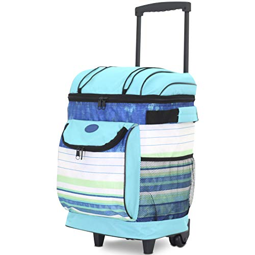Travelers Club 18' Cool Carry Insulated Rolling Cooler, Blue Stripes