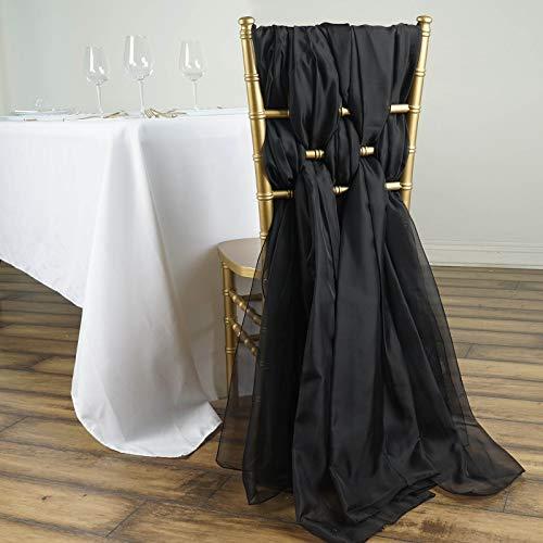 Efavormart 5 Pack 6 Ft BURGUNDY DIY Premium Chiffon Designer Chair Sashes for Wedding Banquet Decor Chair Bow Sash Party