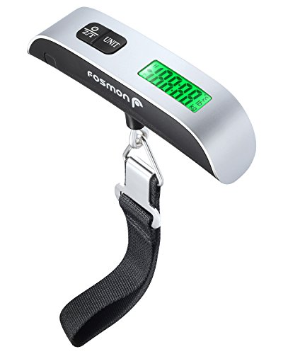 Digital Luggage Scale, Fosmon, Stainless Steel, Backlight, LCD Display, Digital Hanging Luggage Weight Scale, Up to 50 Kilograms with Tare Function - Silver