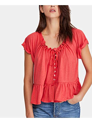 Free People Womens Charlie Ruffled Relaxed T-Shirt Pink L