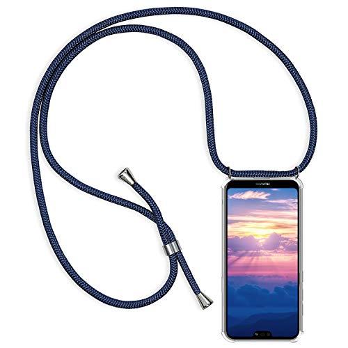 Oihxse Hülle ersatz für Huawei P Smart Z Hülle mit Kordel Schnur-Necklace zum Umhängen Transparent Durchsichtig Slim Stoßfest Silikon Schutzhülle für Huawei P Smart Z,Clear Vier Eckenschutz Case (Q1)